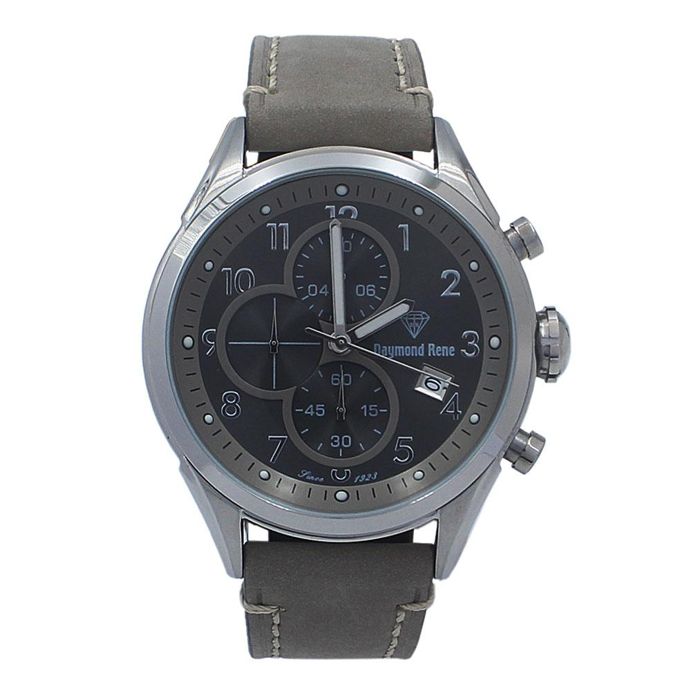 Gray-Silver-Leather-Chronograph-Watch