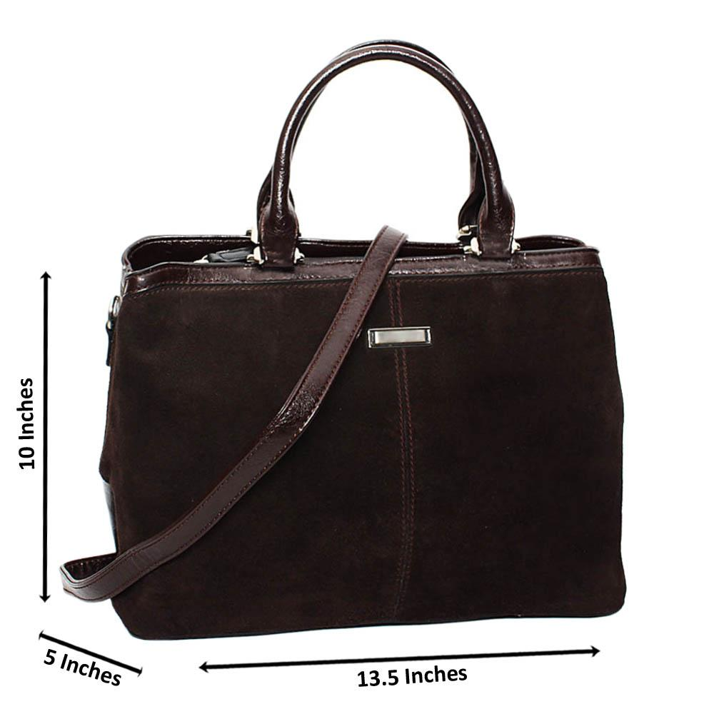 Coffee Kelly Mix Suede Leather Large Tote Handbag