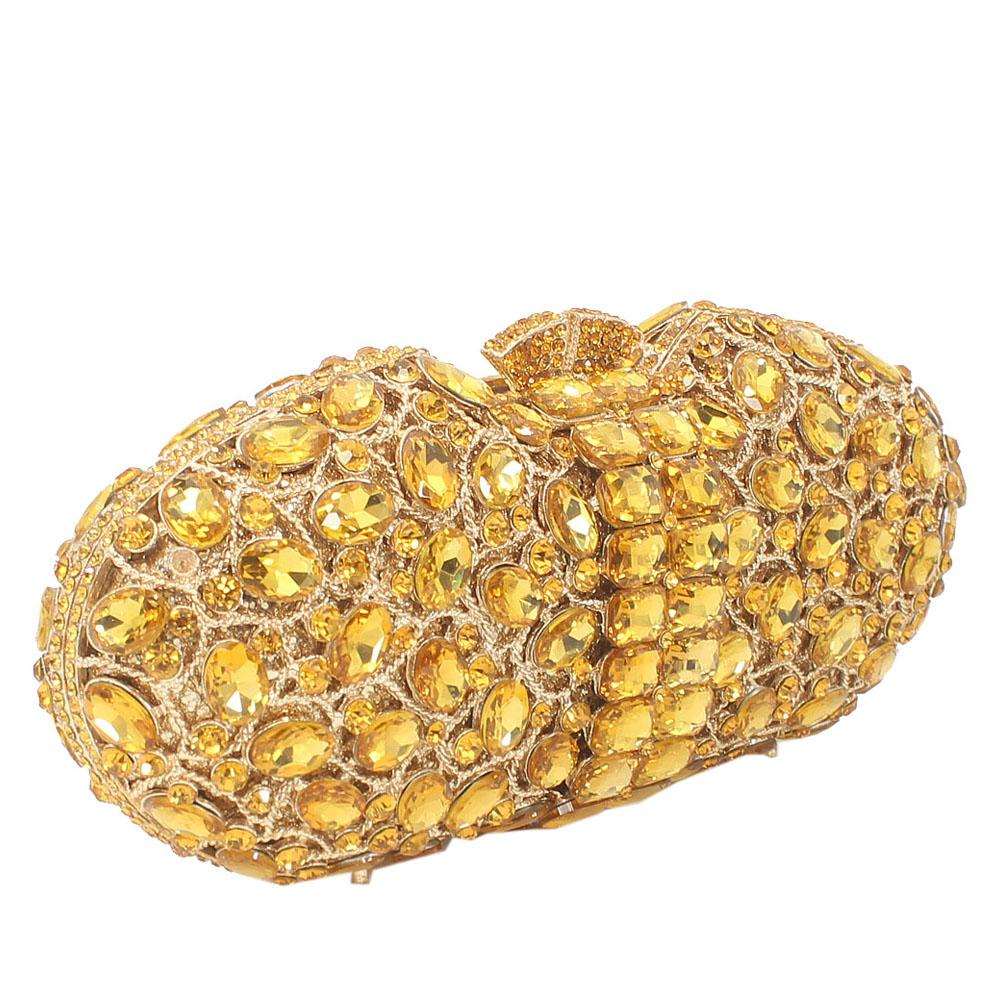 Gold Stone Embellished Diamante Crystal Clutch Purse