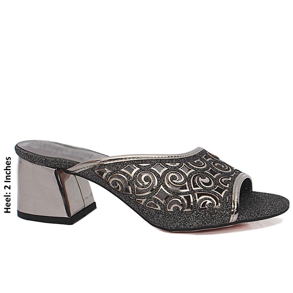 Silver Black Open Toe Shimmering Leather Mule