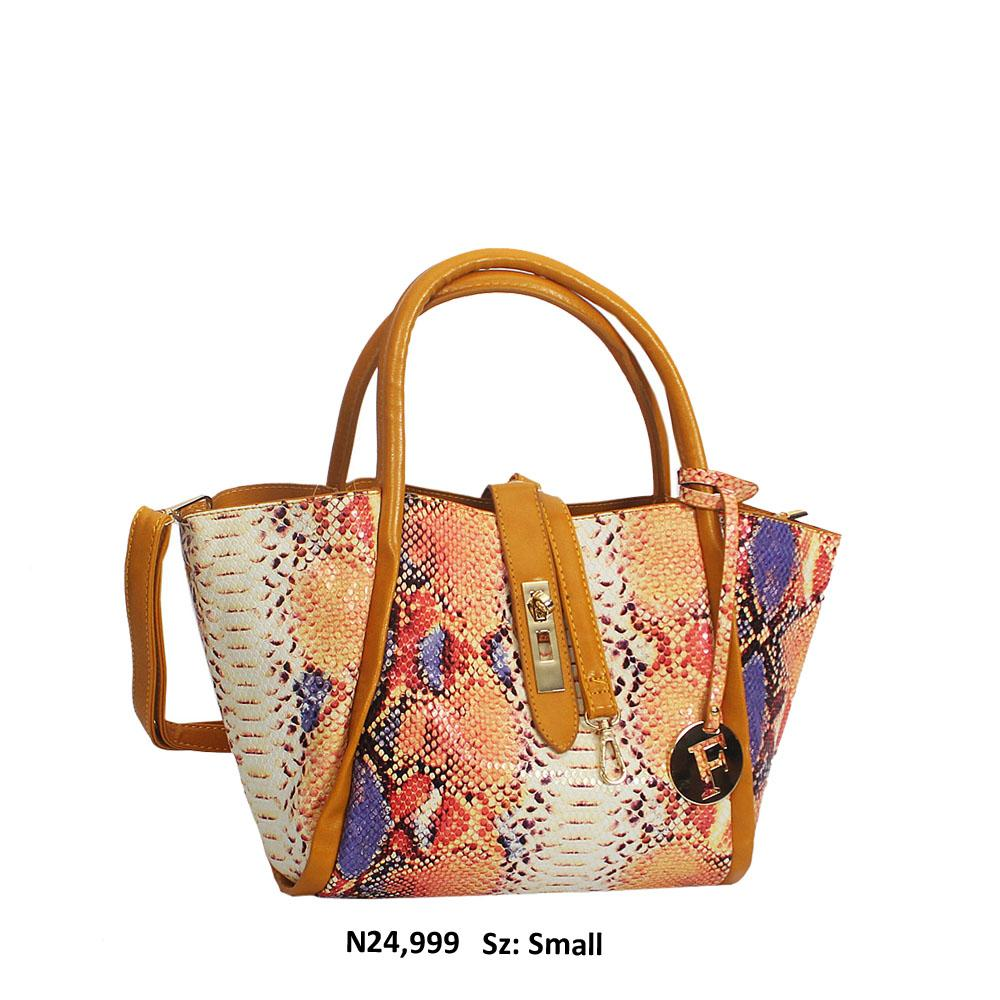 Yellow Mix Snake Skin Style Leather Tote Handbag
