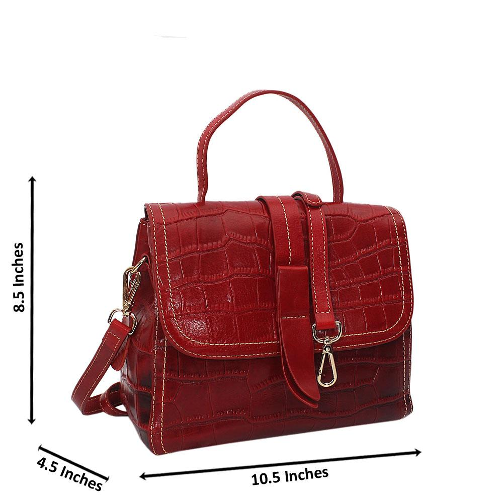 Becca Smith Red Croc Cowhide Leather Small Top Handle Handbag