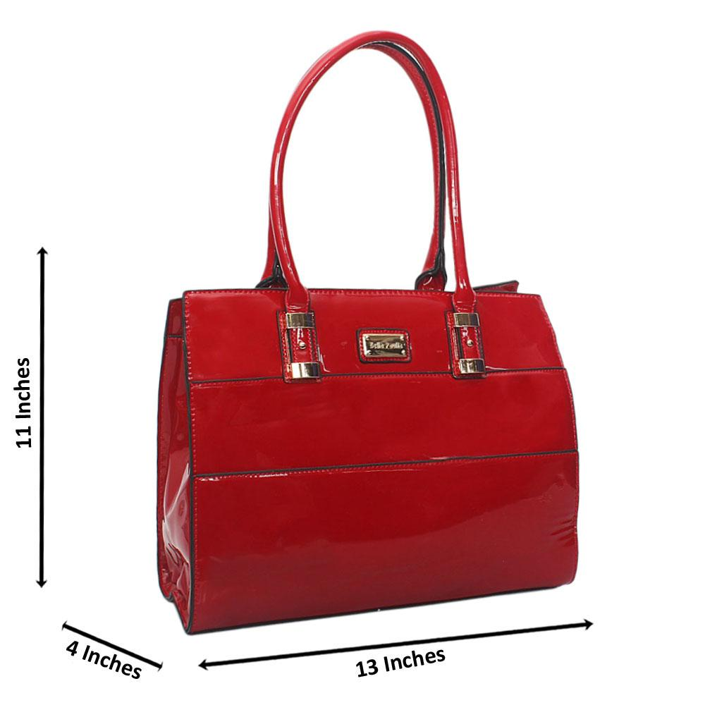 Wine Bella Paulla Patent Leather Tote Handbag