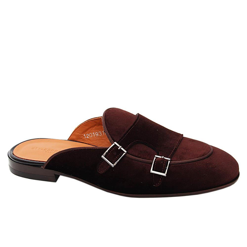 Coffee Cedric Velour Italian Leather Half Shoe