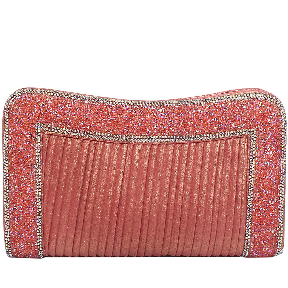 Coral Fabric Studded Flat Clutch