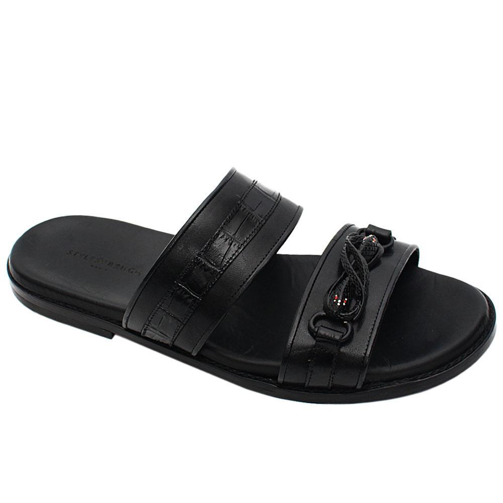 Black Buffalo Italian Leather Men Slippers