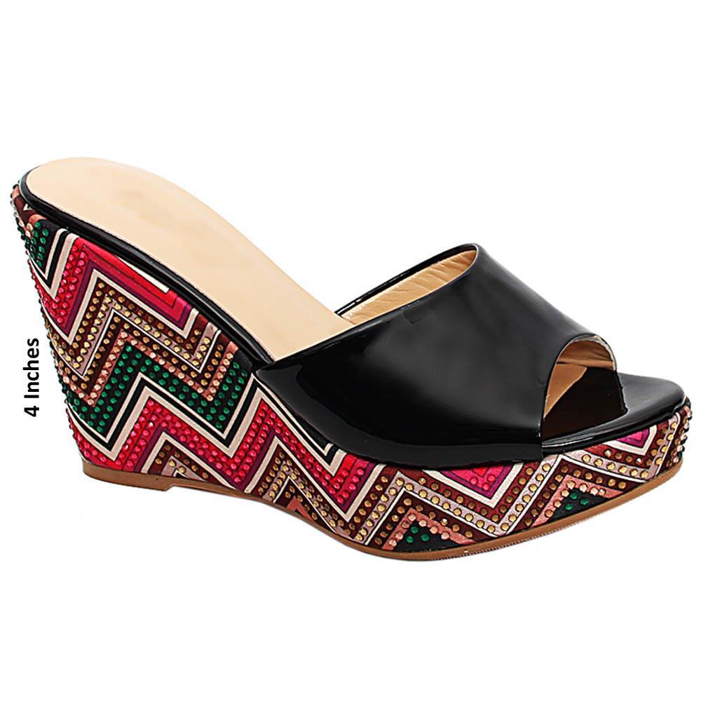 Black Miranda Studded Italian Leather Wedge Heels