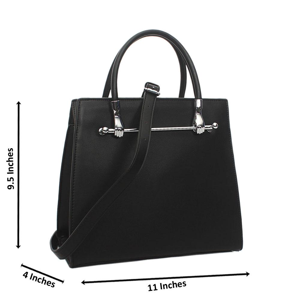 Black Ella Small Leather Tote Handbag