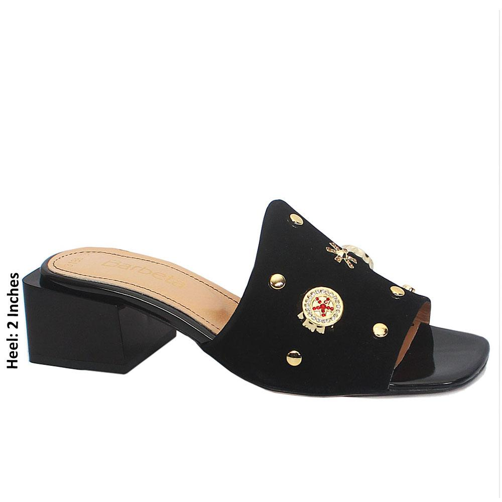 Black Plaza Embellished Suede Leather Mule