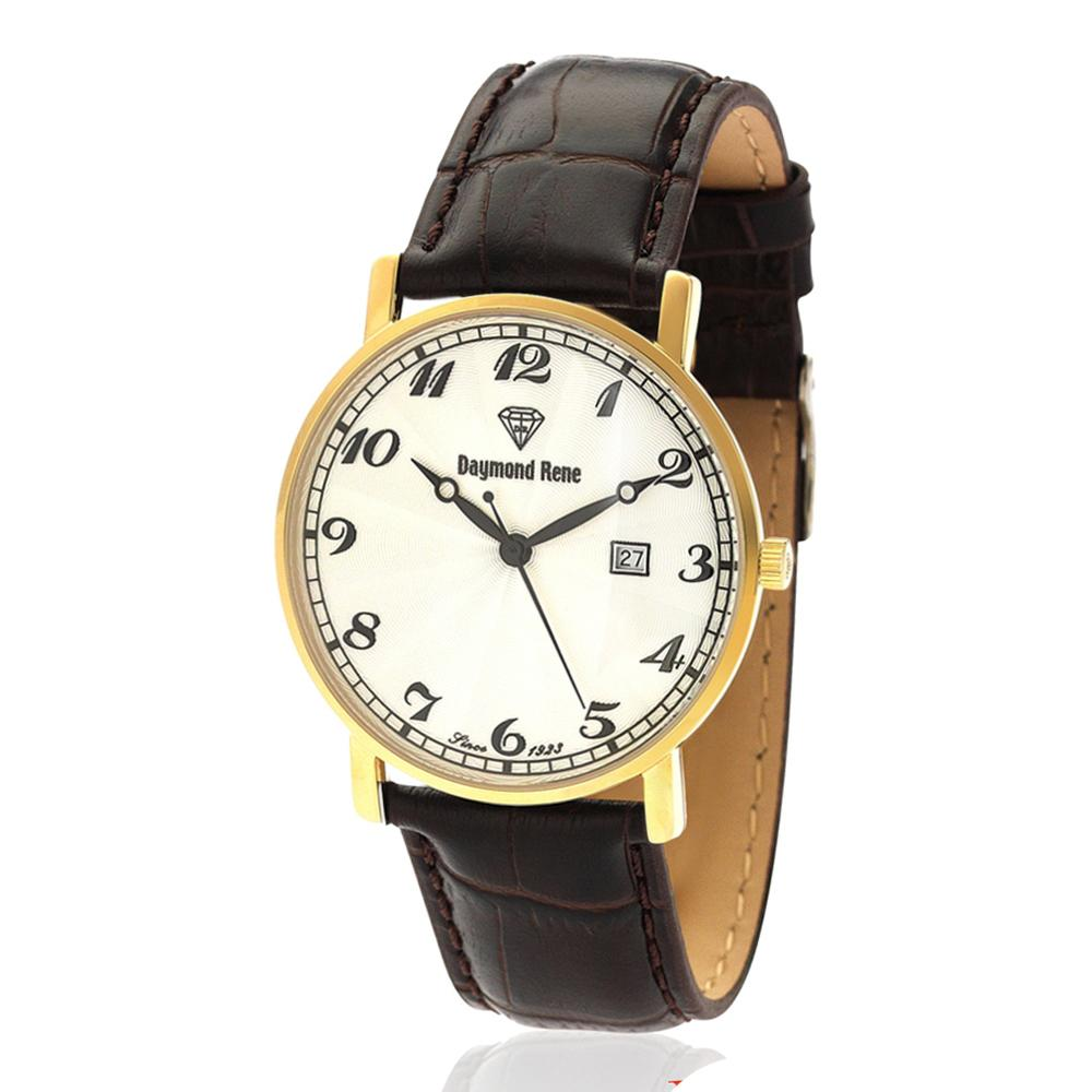 Coffee Gold Leather Flat Watch