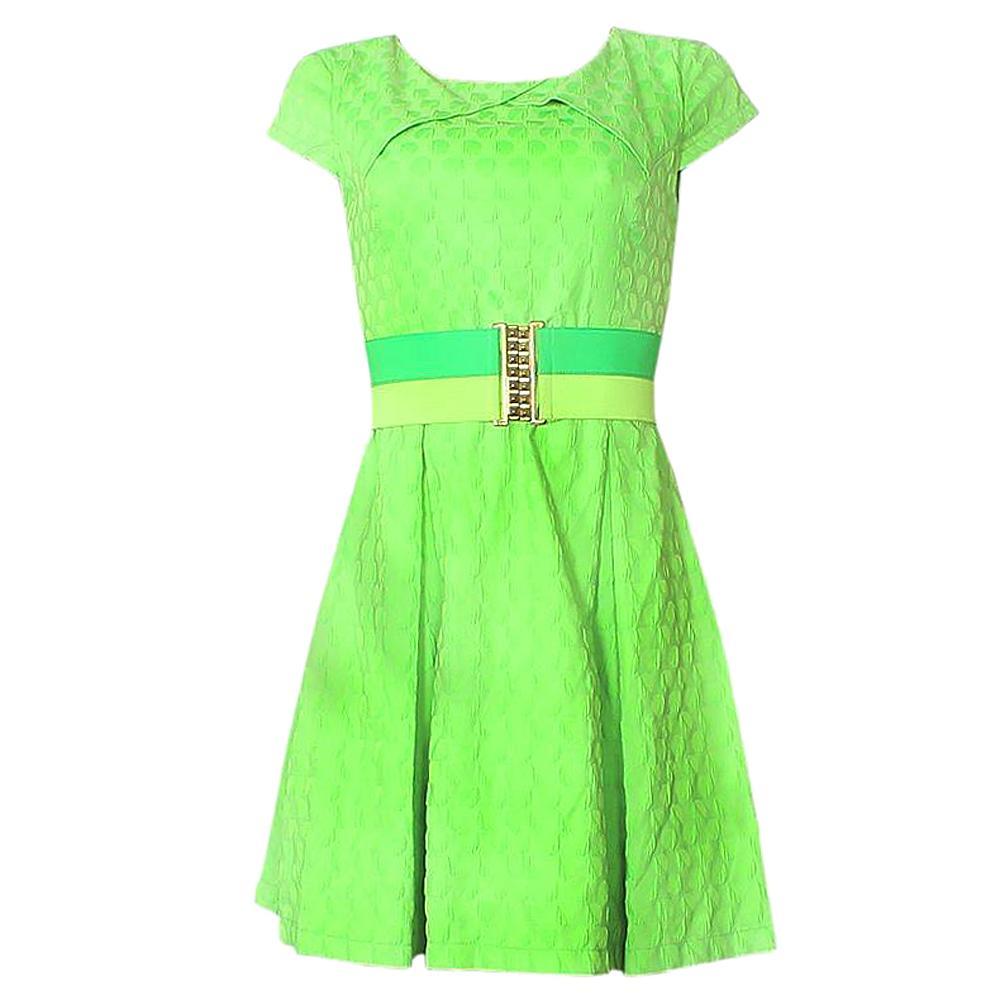Pole & Pole Neon Green Cotton Ladies Wt Belt Sz-L
