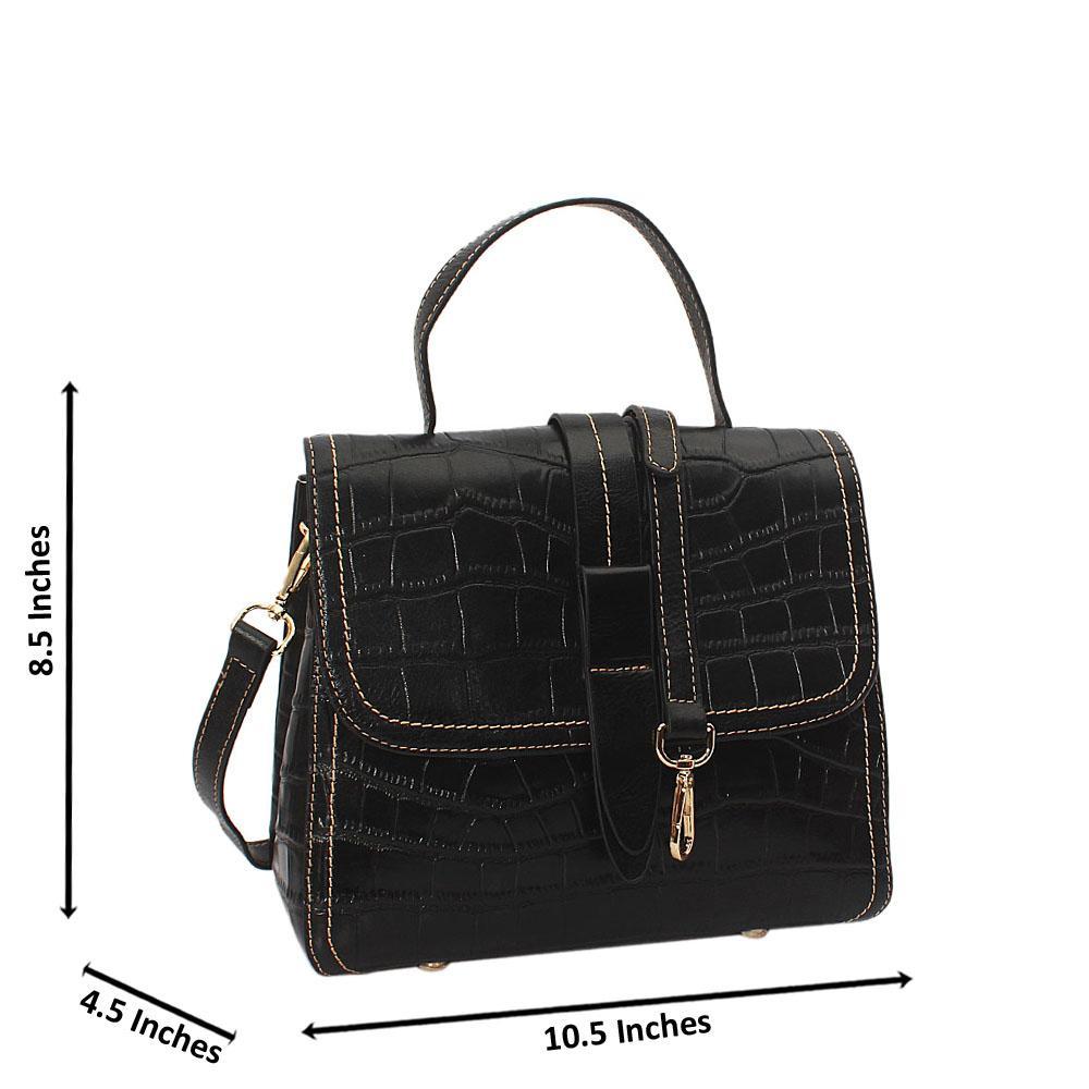 Becca Smith Black Croc Cowhide Leather Small Top Handle Handbag