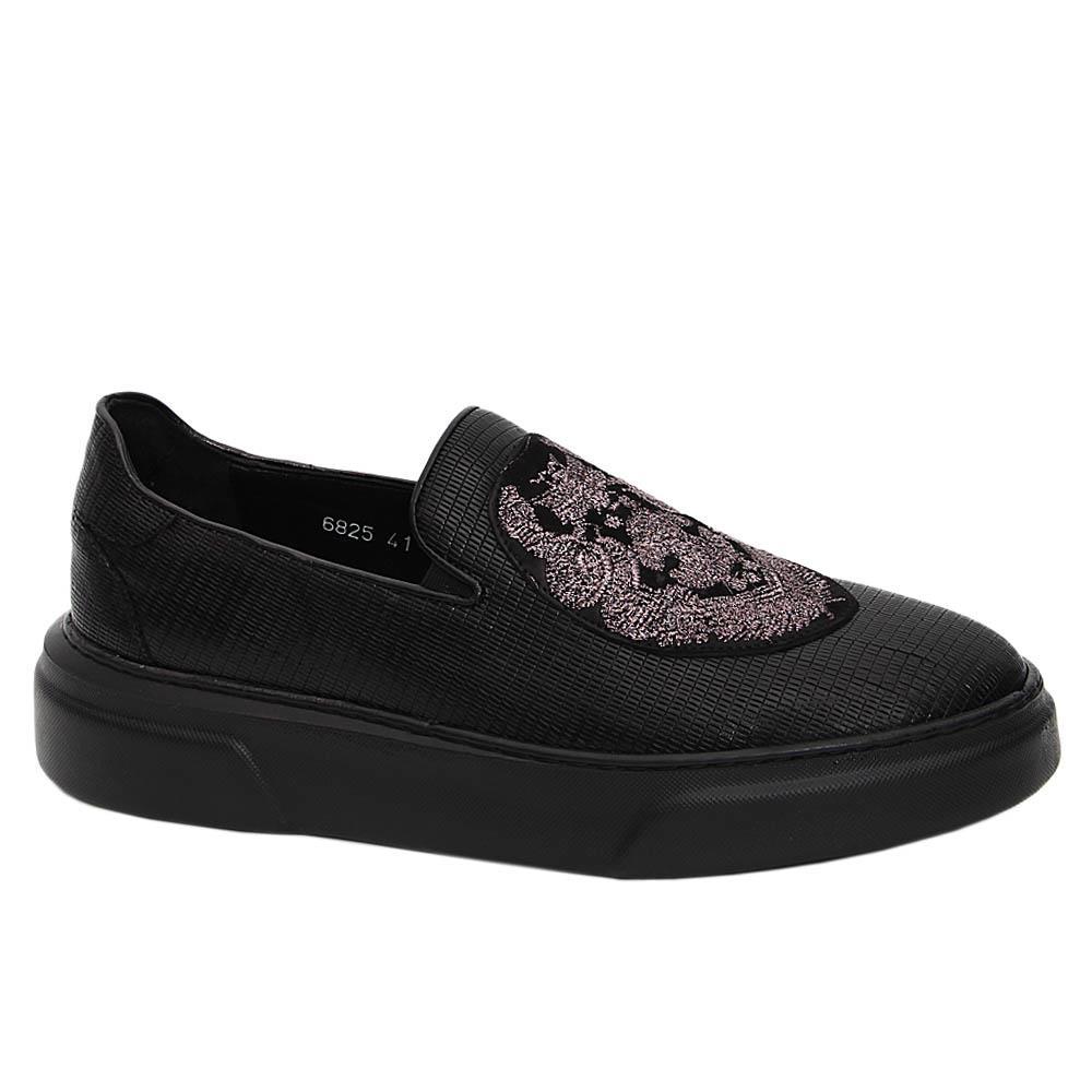 Black Italian Leather Slip-On Sneakers