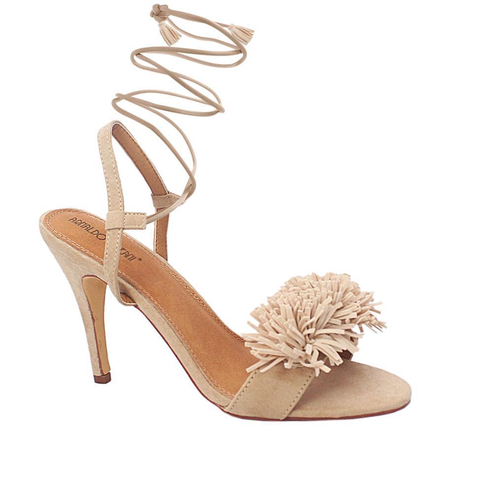Beige Luciana Suede Leather Slipon Heel Sandals