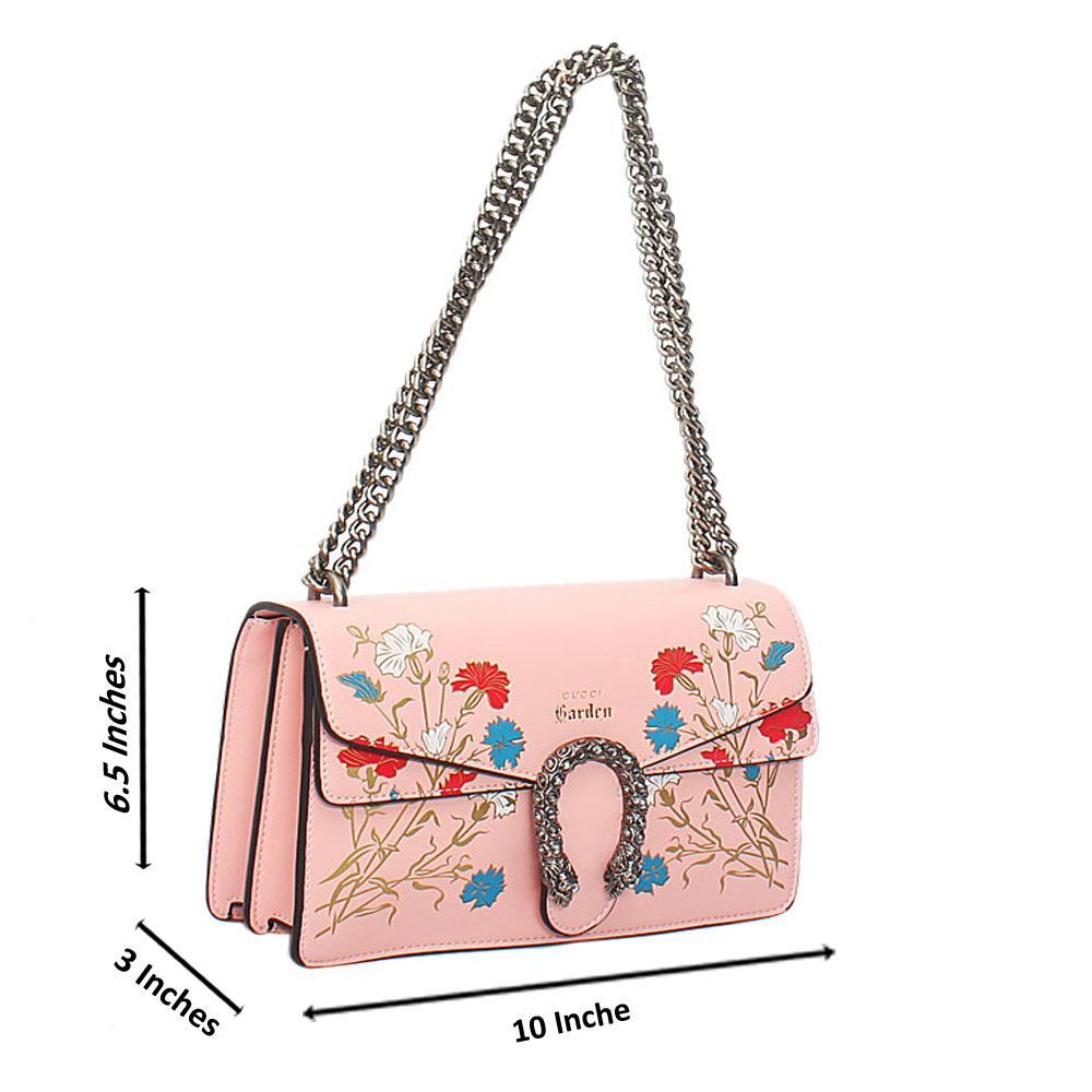 Pink Flora Graphic Print Tuscany Leather Chain Crossbody Handbag