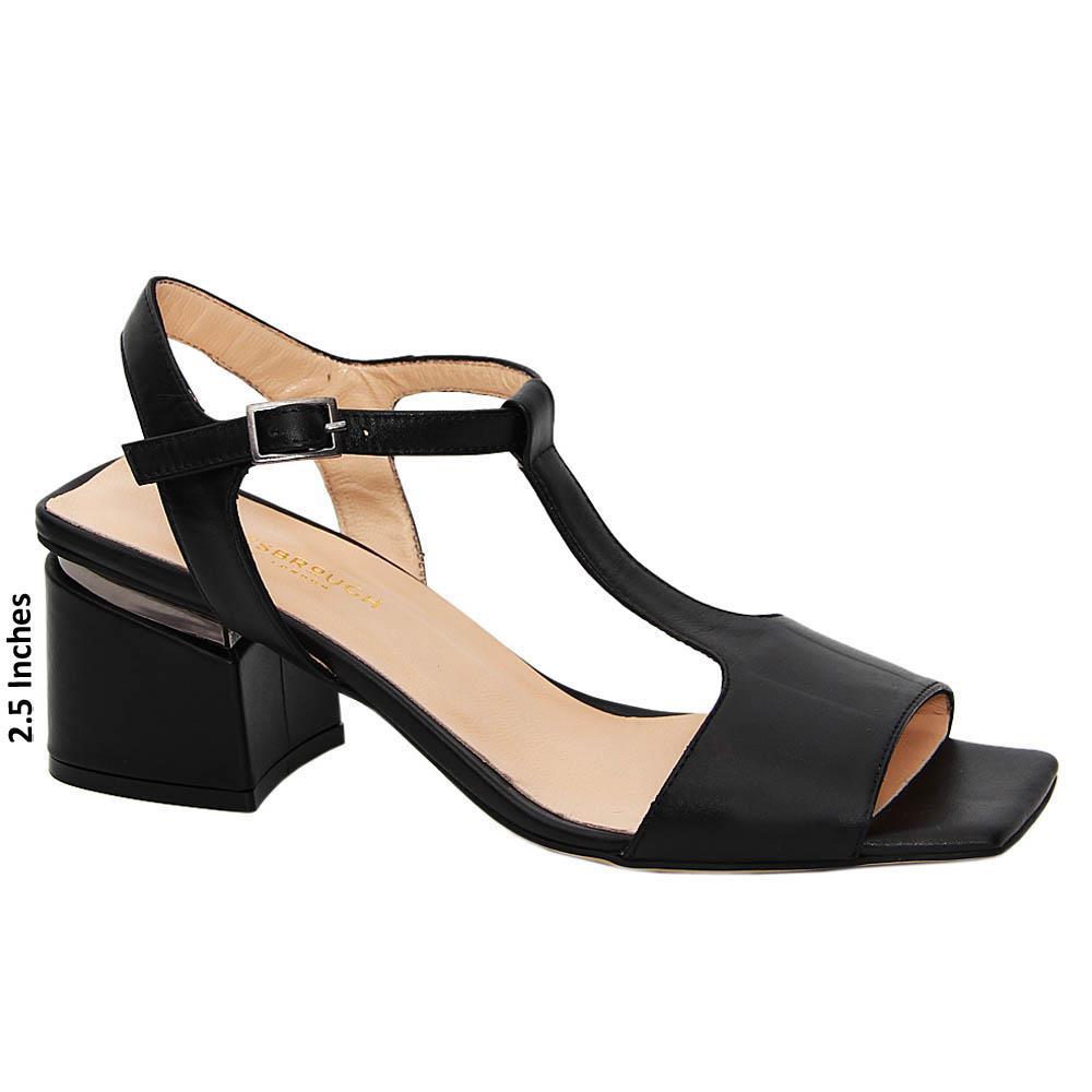 Black Maliyah Tuscany Leather Mid Heel Sandals