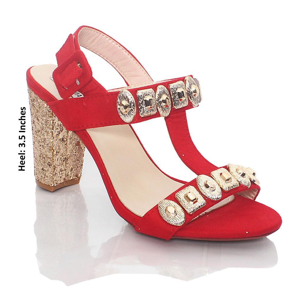Red Gold Glitz Suede Leather High Heels