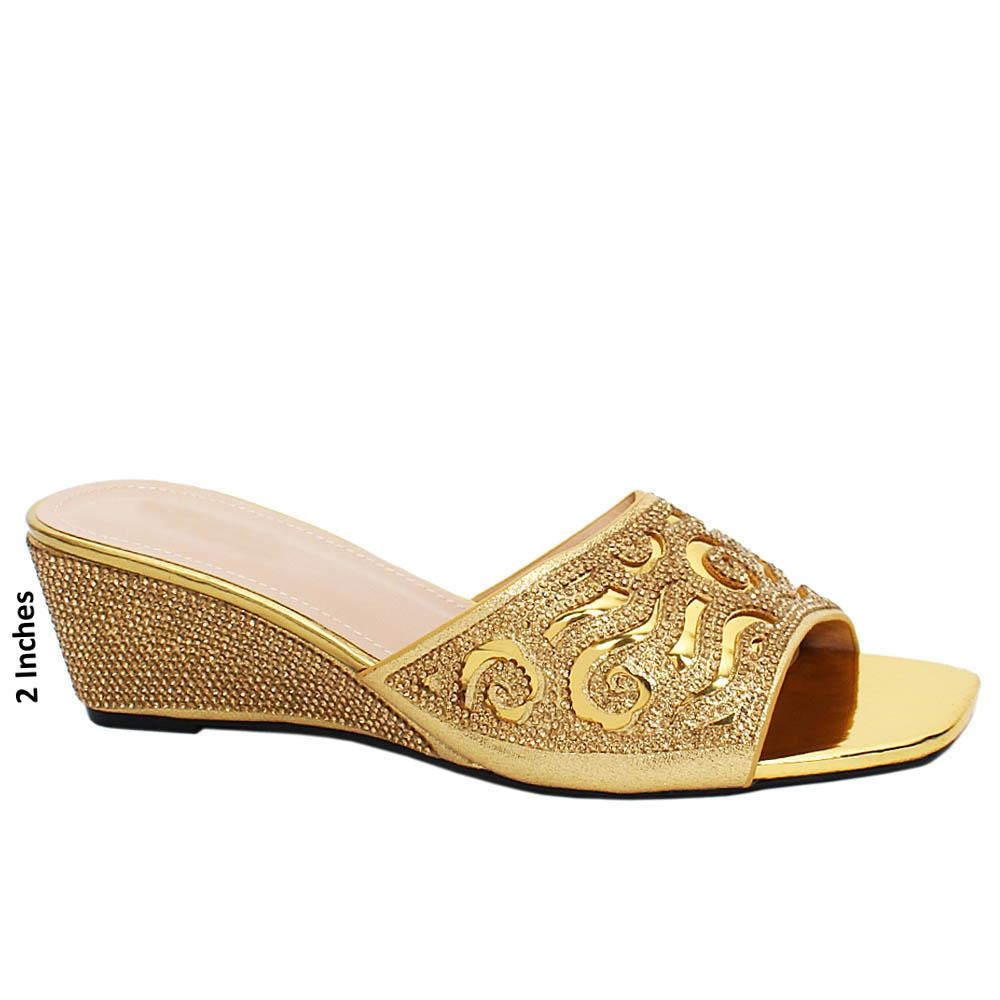 Gold Lizette Studded Leather Wedge Heels