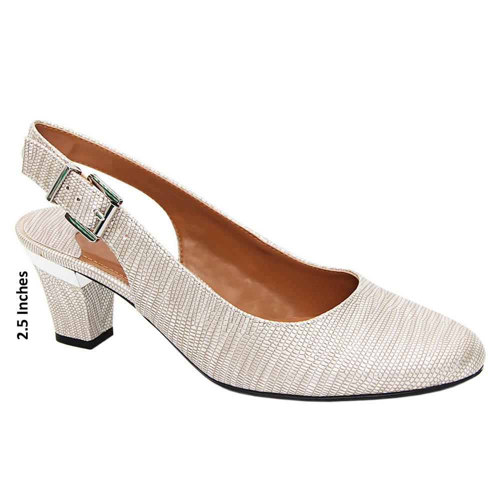 Gray Estella Leather Mid Heel Slingback Pumps