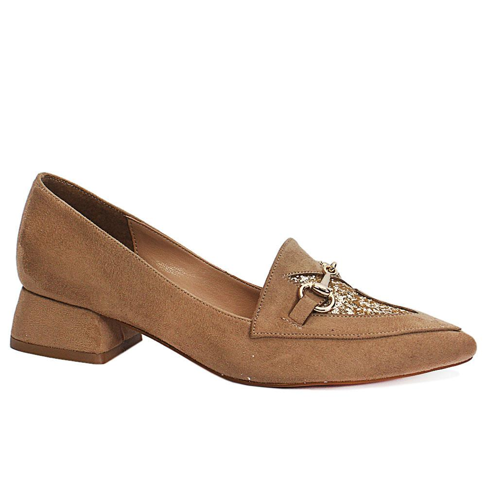 Khaki Low Heel Suede Leather Ladies Shoes