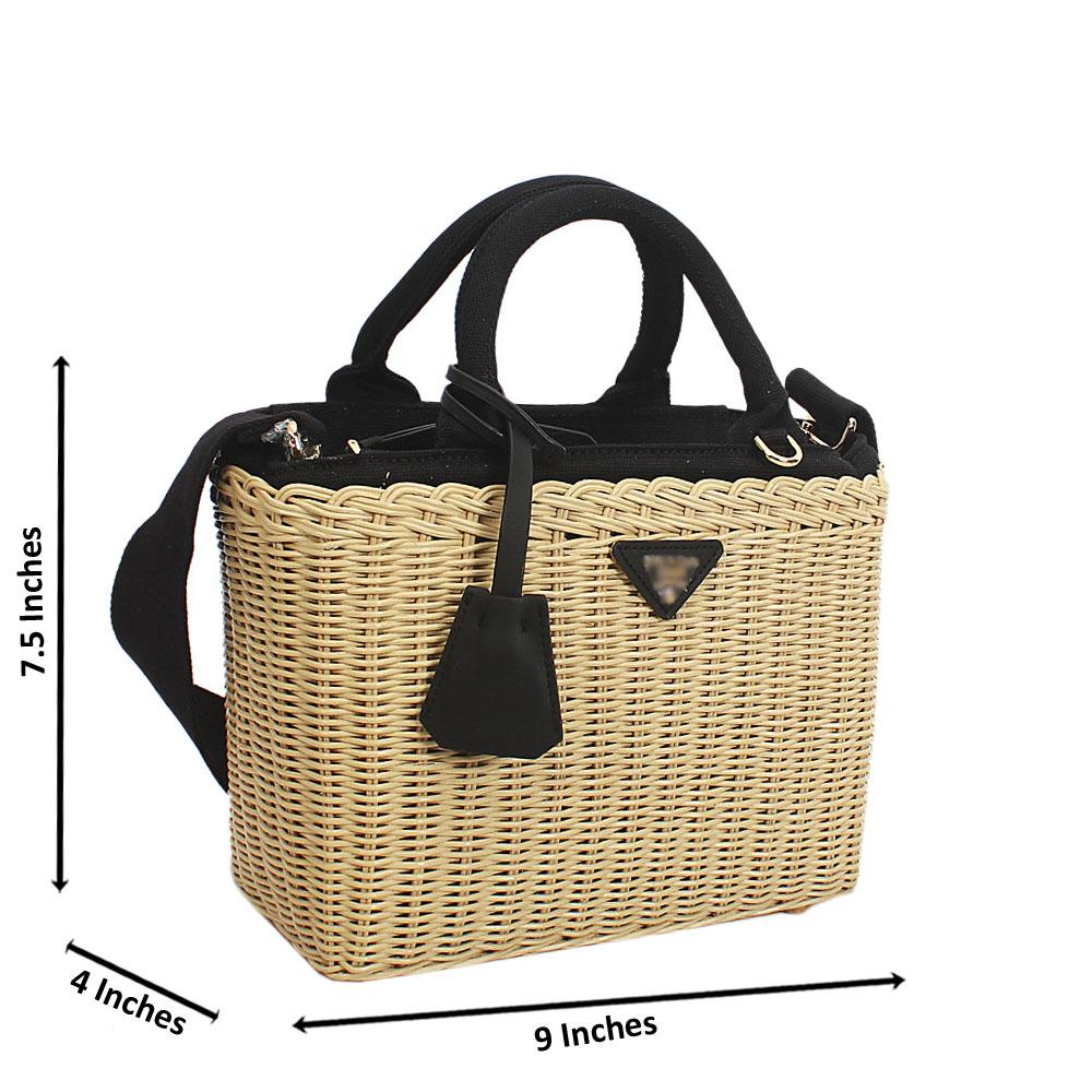 Discounted Cream Black Basket Fabric Handbag due to Slight Cargo Damage