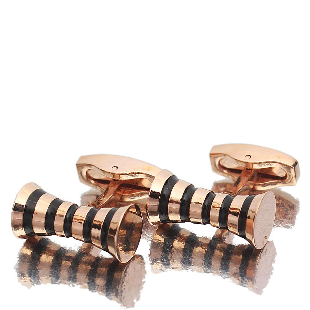 Rose Gold Black Gang Styled Stainless Steel Cufflinks