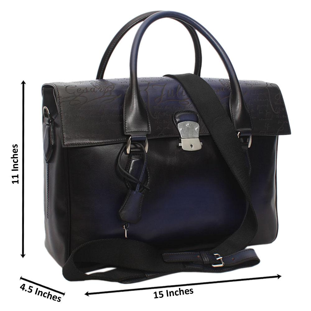 Julia Cesaer Black Blue Cow-Leather Man-Bag