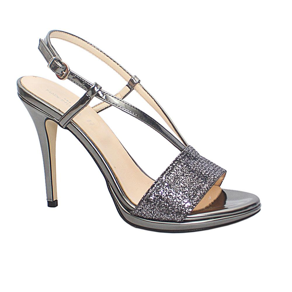 Metallic Gray Sloan Glitz Patent Leather Heel Sandals