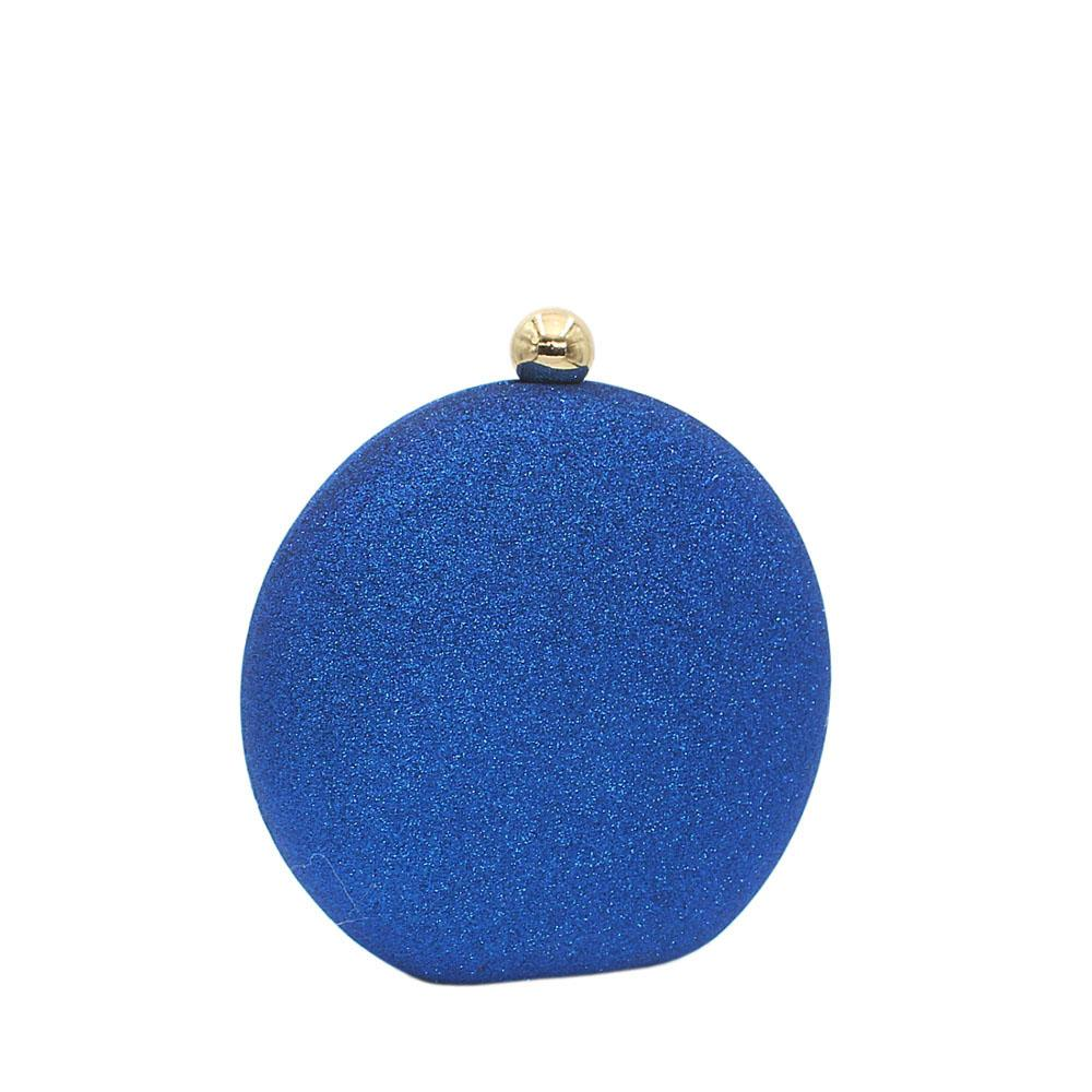 Blue Round Shimmering Satin Clutch Purs
