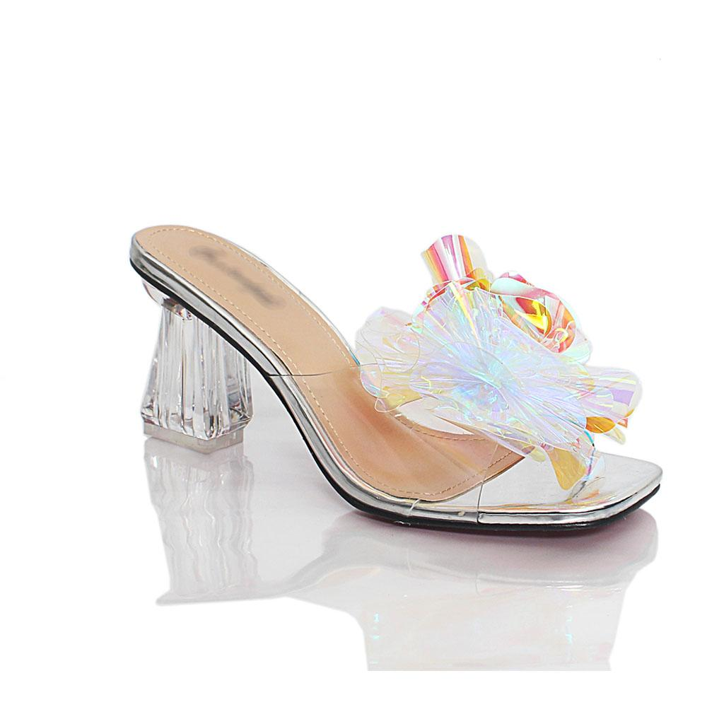 Silver Crystal Glass Rubber Leather Mule