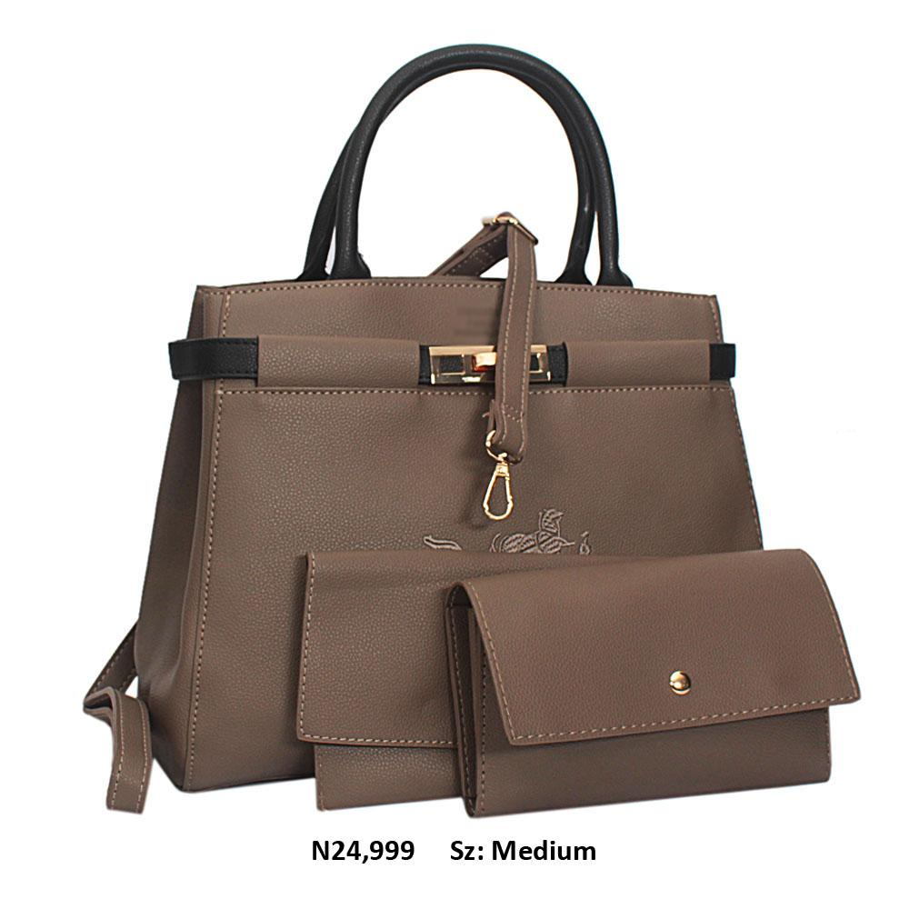 Khaki Doria Leather Tote Handbag
