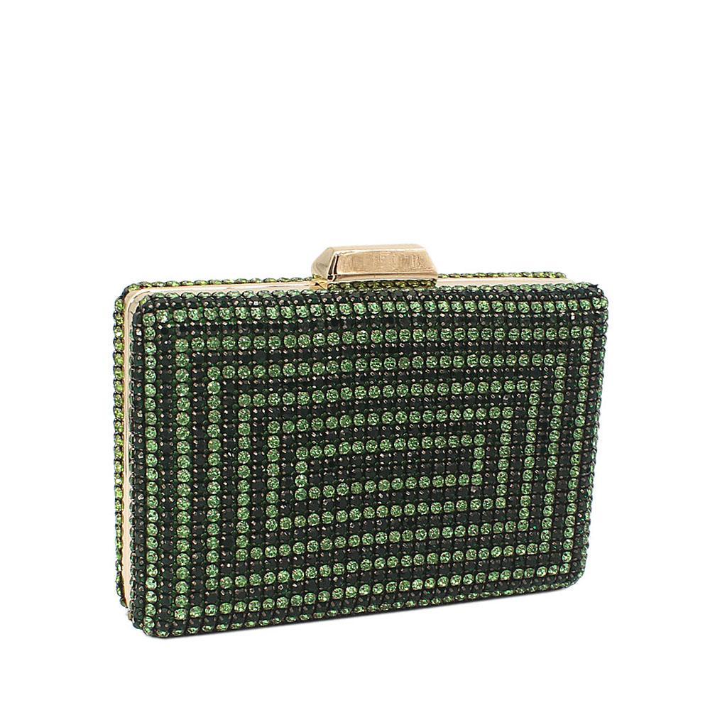 Green Nina Crystals Studded Clutch Purse