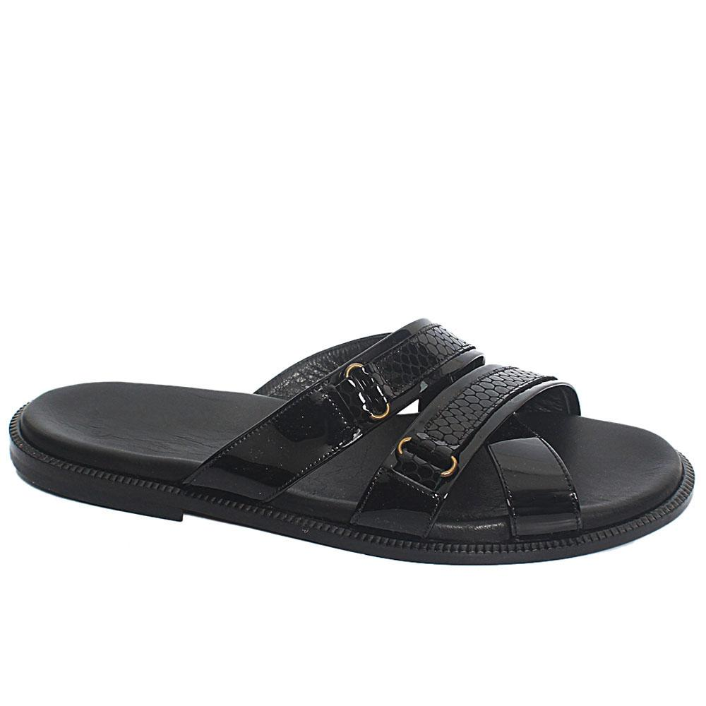 Black Lex Leather Upper and Sole Men Slippers