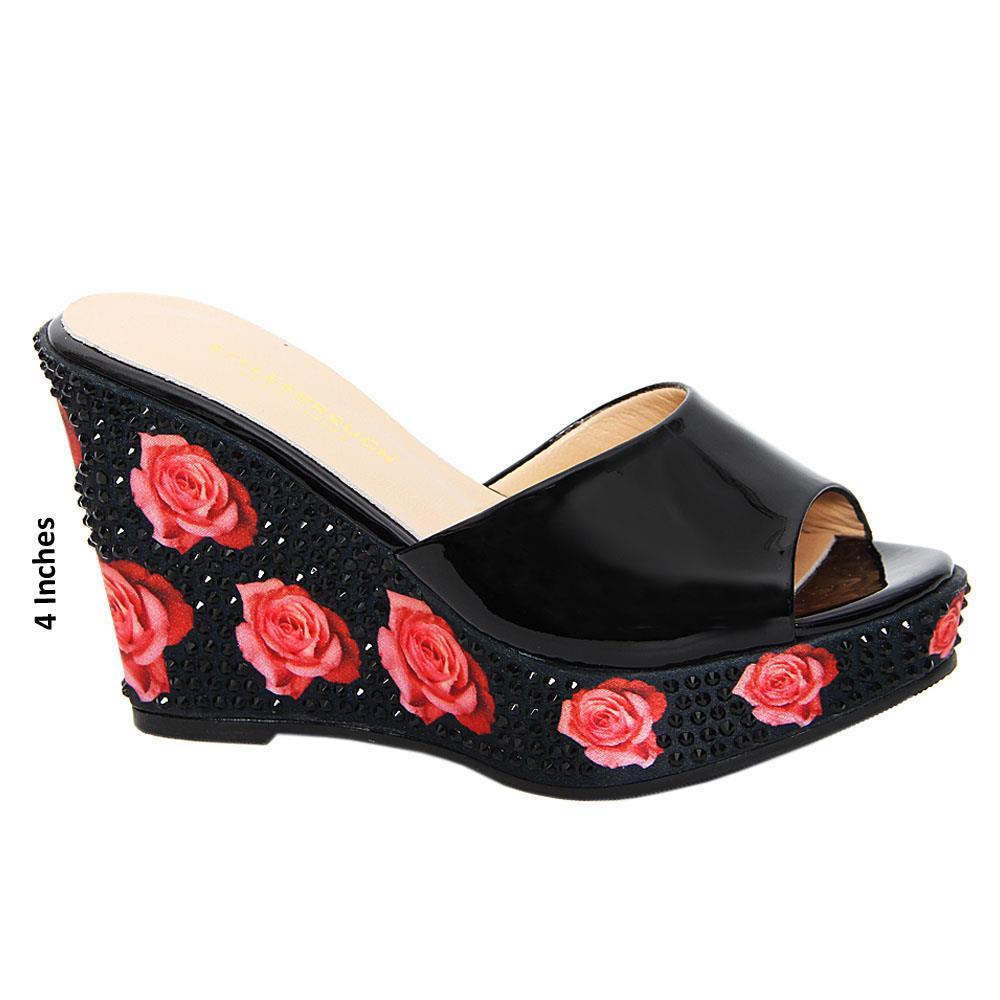Black Piera Rose Studded Patent Italian Leather Wedge