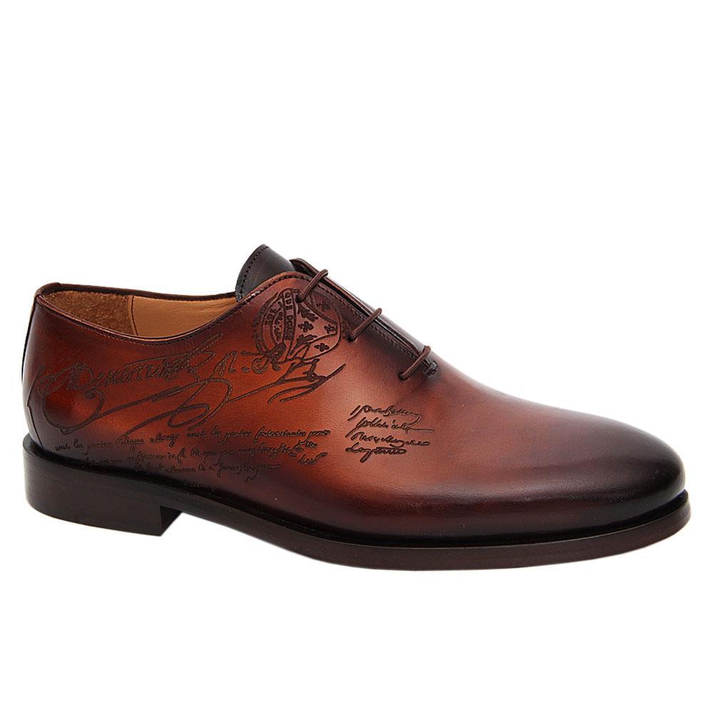 Brown Julio Caesar Lasiq Prints Italian Leather Oxford Shoe