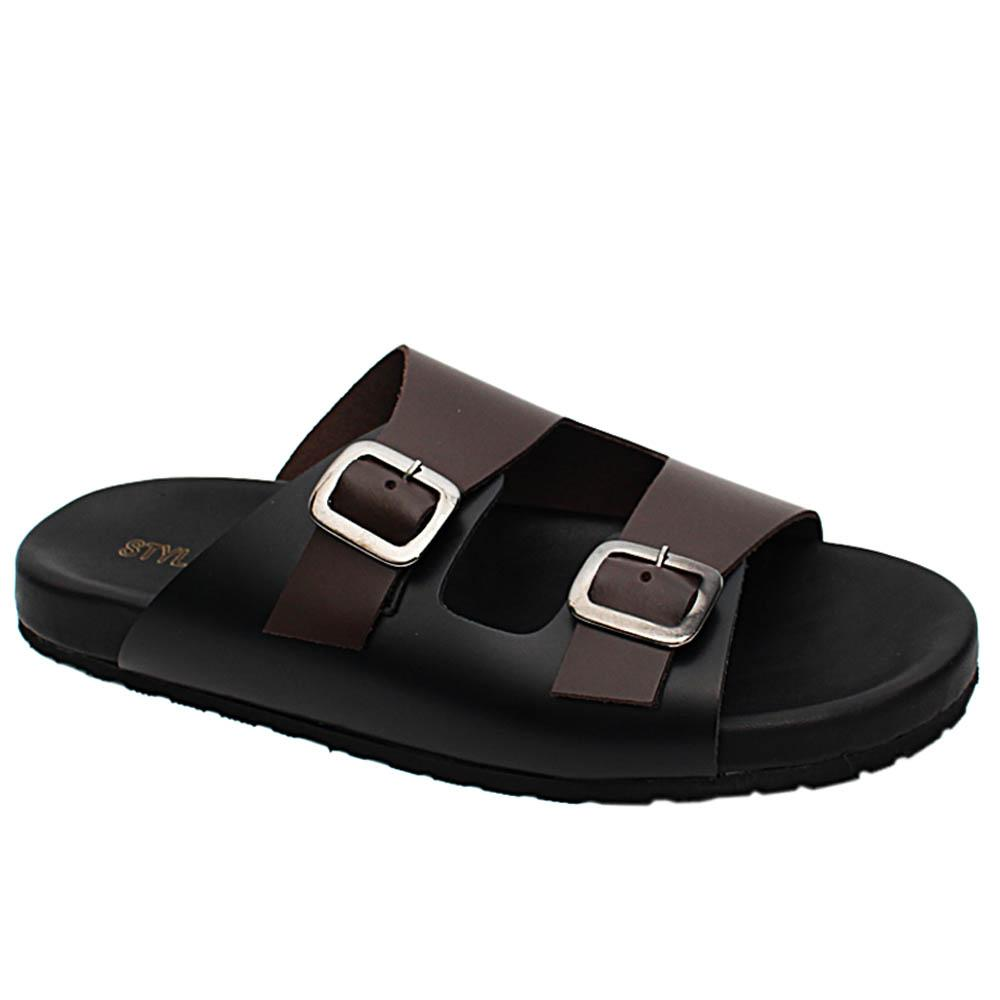 Black Brown Harry Davis Italian Leather Men Slippers