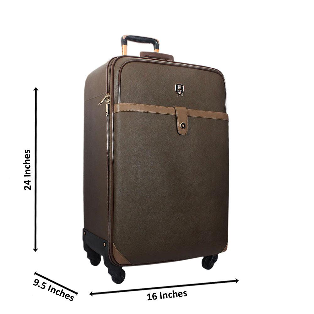 Green 24 Inch Leather Medium Check-In Luggage