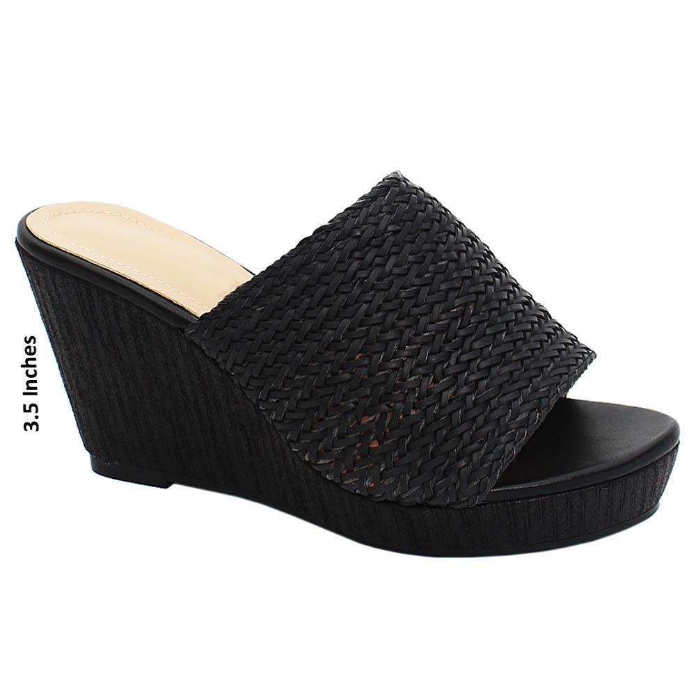 Black Isabelle Woven Leather Wedge Heels