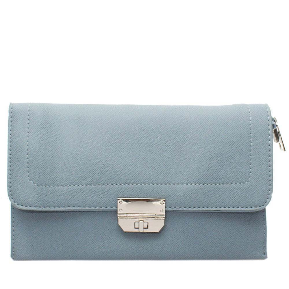 Grey Nefelia Leather Flat Purse
