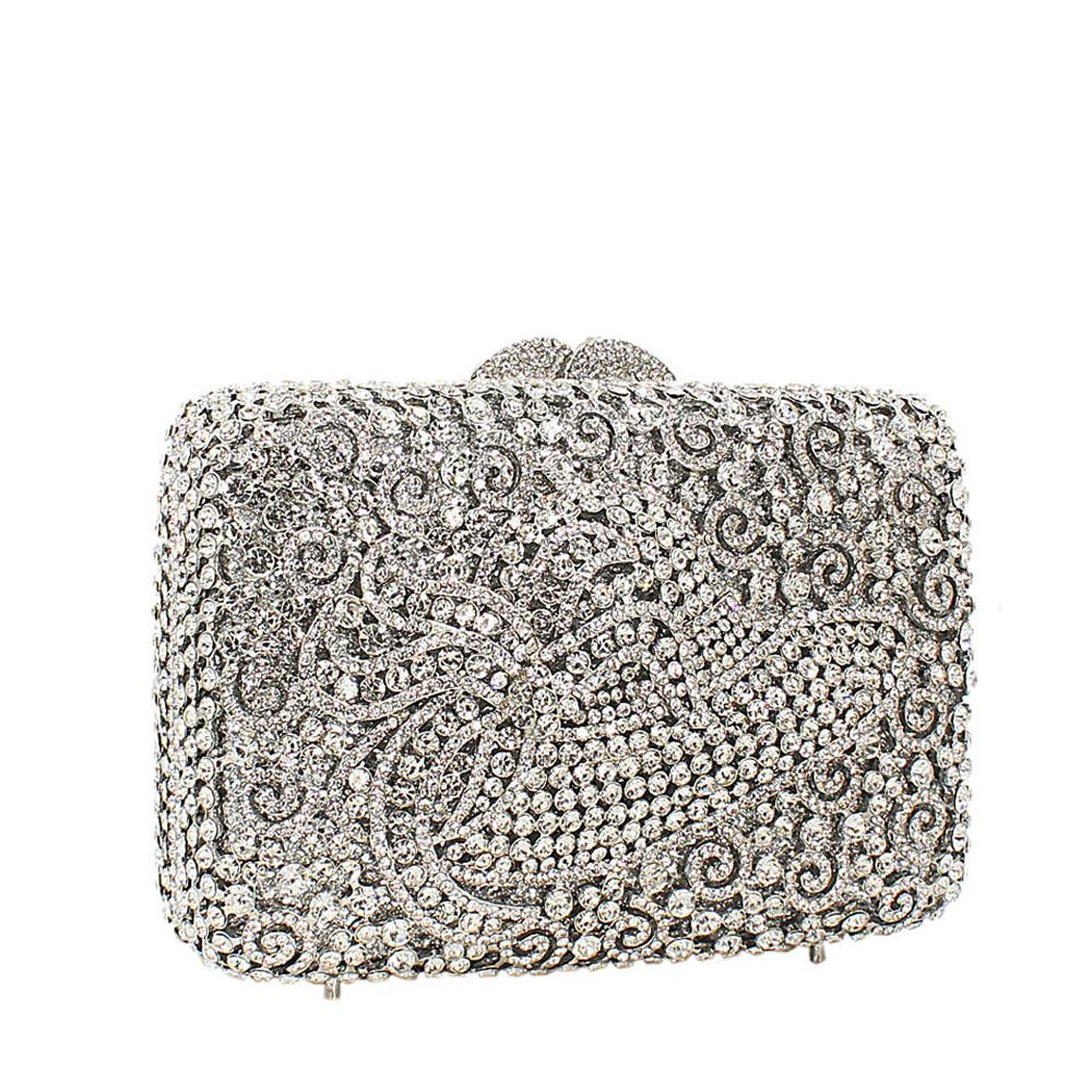 Silver Hat Diamante Crystals Clutch Purse