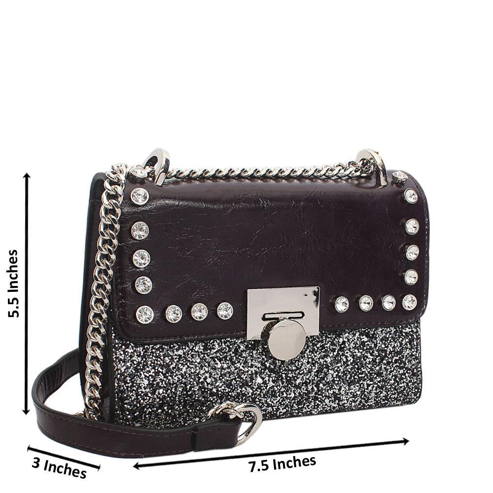 Purple Ice Glitz Leather Chain Crossbody Handbag
