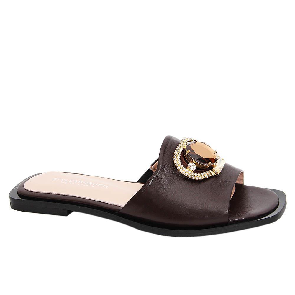 Coffee Aretha Tuscany Leather Women Flat Slippers