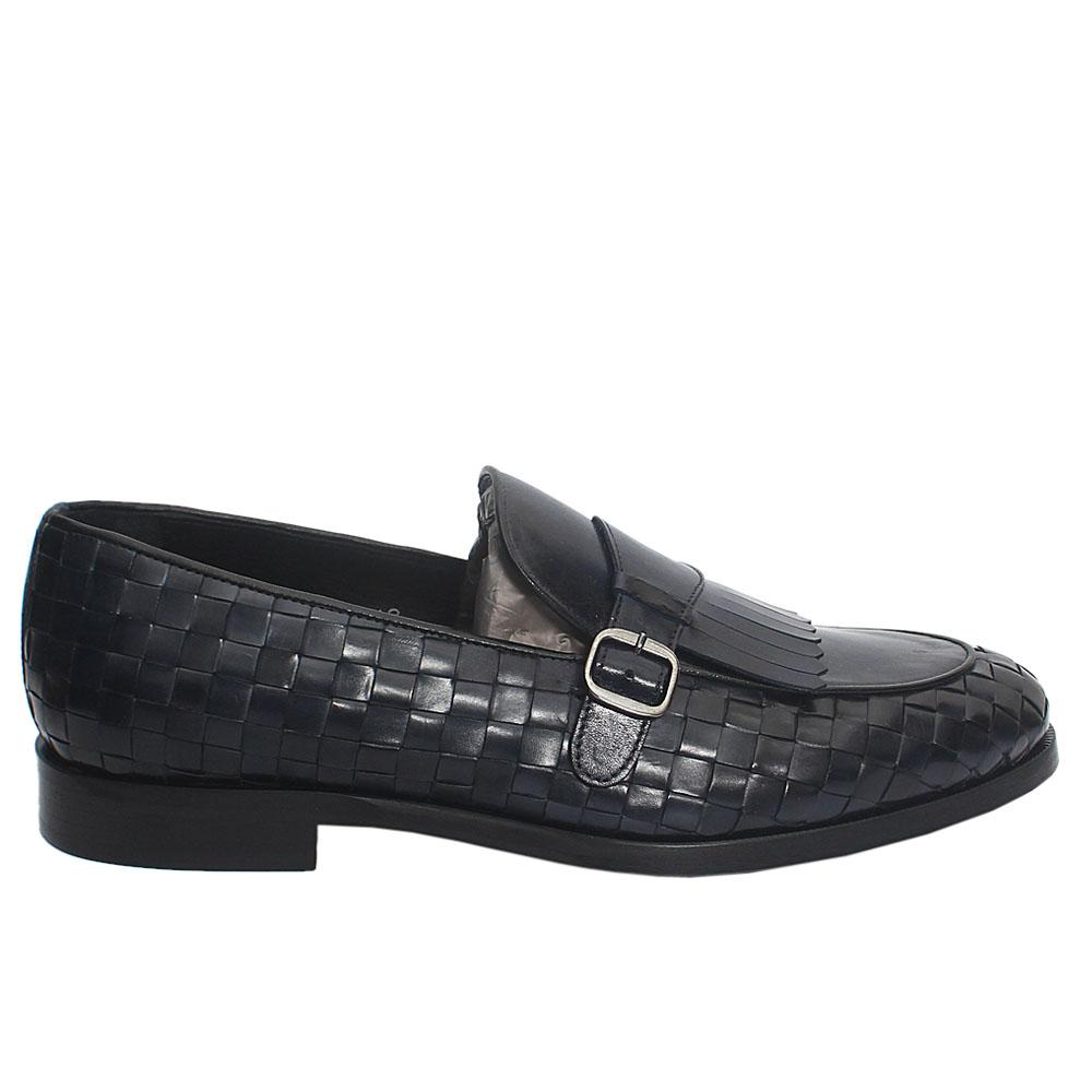 Navy Fringed Woven Italian Leather Loafers