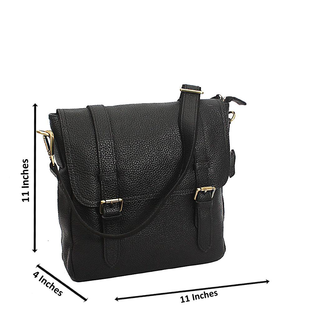 Black Geiger Full Grain Leather Vertical Messenger Bag