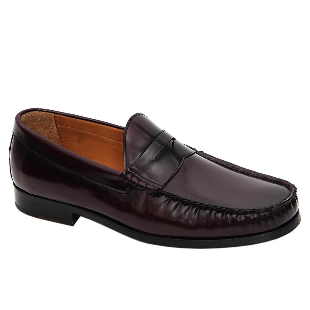 Burgundy Cornelis Italian Leather Penny Loafers
