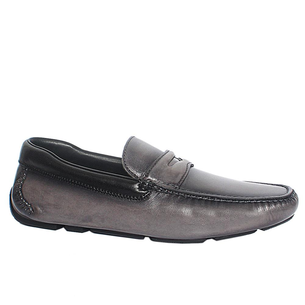 Gray Black Lazzero Italian Leather Drivers Shoes