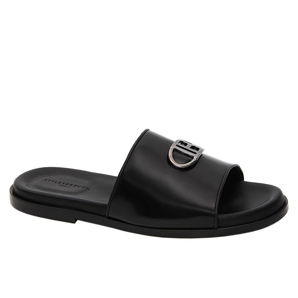 Black Xavier IB Italian Leather Slippers