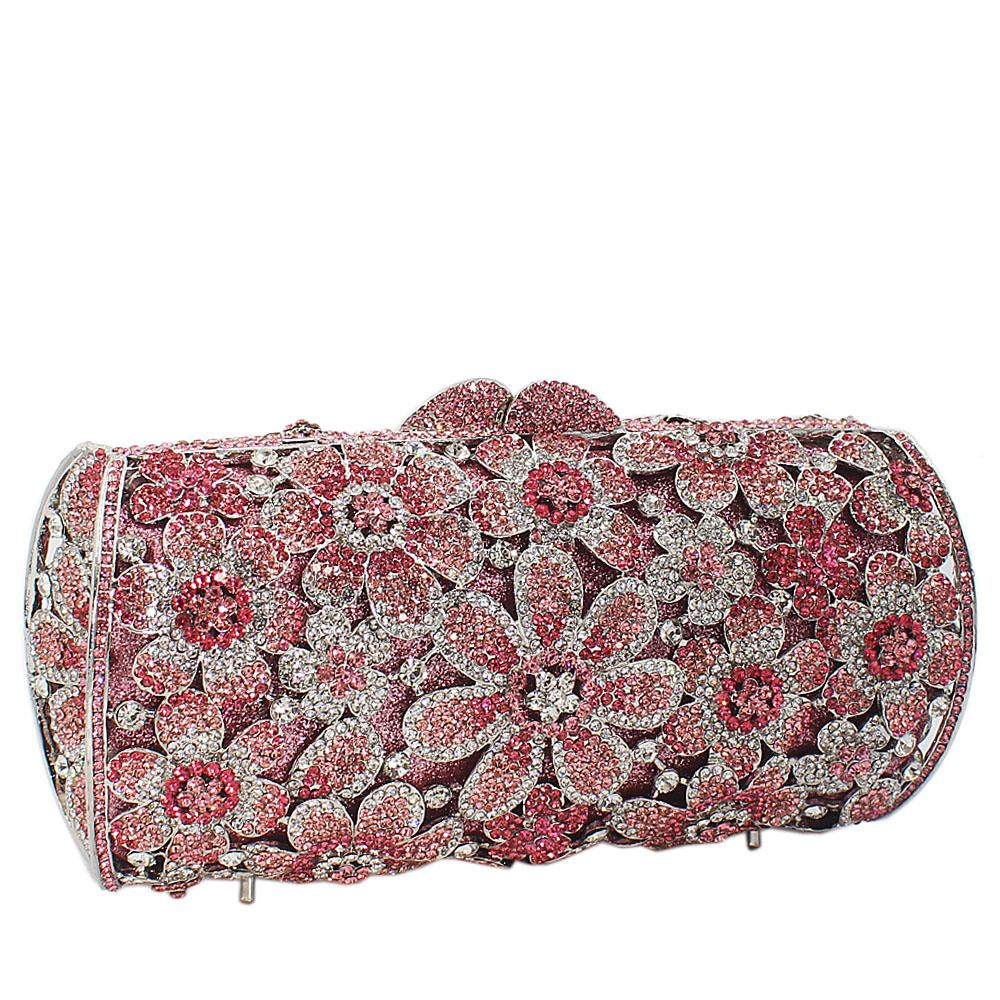 Pink Silver Diamante Crystals Clutch Purse