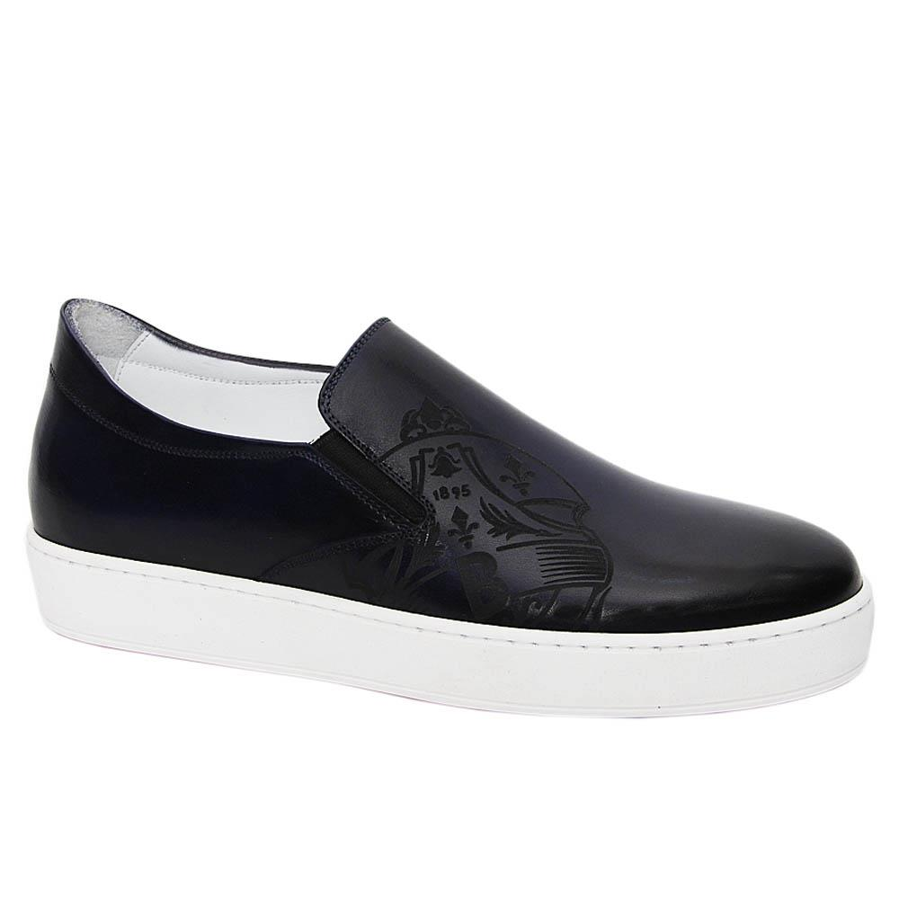 Navy Bernardo Italian Leather Slip-On Sneakers