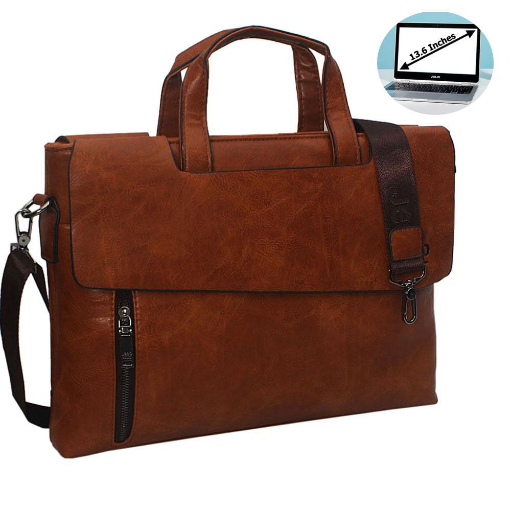 Brown Esteban Leather Double Flap Briefcase